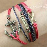 Anchor Bracelet-love bracelet, infinity bracelet, karma bracelet, rope bracelet, leather bracelet-gift for  friends