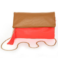 What's Neon, Pussycat? Tan and Neon Coral Clutch