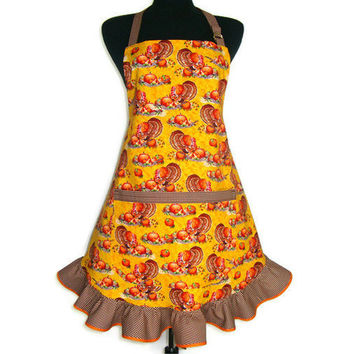 Thanksgiving Turkey ,  Retro Style Kitchen Apron with Ruffle