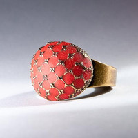 Statement ring red jewelry brass jewelry custom color handmade rings special gift old style rings