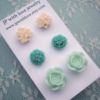 Stud earrings Teal pastel green ivory white rose by JPwithlove
