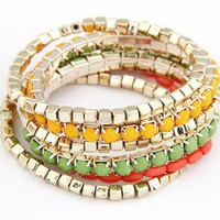Chic Yellow Green Multi Strand Beaded Bracelet Set wholesale