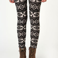 Frankee Aztec Print Brushed Knit Leggings