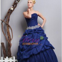 Attractive A-line Sweetheart Navy Applique Taffeta Quinceañera / Prom Dress