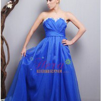 Fabulous A-line Sweetheart Blue Applique Chiffon Quinceaera / Prom Dress