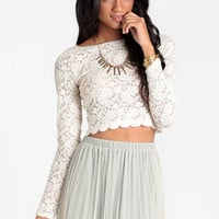 Morning Frost Crop Top - $32.00 : ThreadSence, Shop women&#x27;s indie and bohemian clothing at ThreadSence.com, featuring cool brands like MINKPINK, Motel, Vanessa Mooney, Unif, For Love &amp; Lemons, Stylestalker &amp; more!