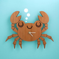 Kids Clock: Wood Crab Wall Clock for Ocean Nursery Theme