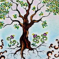 Original Tree Drawing Framed Mixed Media on Paper by tarren