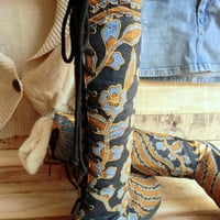 Viva Boot in Blue and Caramel Bali Batik