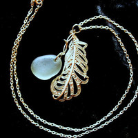 Heavy Charm Necklace Long Silver Feather Sea Glass by tarren