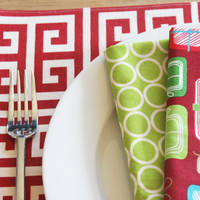 Holiday Placemats - Red Grid - Set of 4