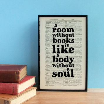 A Room Without Books art print book lover's quote on vintage dictionary page
