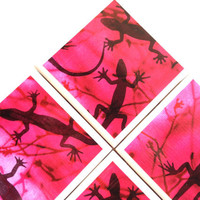 Pink Gecko Coasters, Ceramic Tile Set, Garima Dhawan, Lizard Reptile, Table Protection
