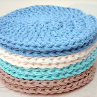 Face Scrubbies Crochet Face Cloths Washcloths Beach Colors Cotton Handmade Makeup Remover Pads Set of 8