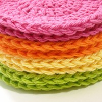 Face Scrubbies Makeup Remover Pads Crochet Cotton Washcloth Bright Orange, Pink, Lime, Yellow Set of 8