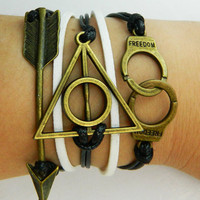 Ancient bronze arrow, Triangular frame and handcuffs bracelet-- white and black wax rope Harry Porter Deathly Hallows  braided bracelet