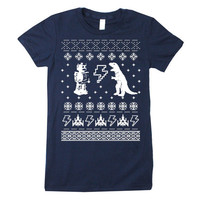 Womens Geeky Christmas Sweater Print Short Sleeve T Shirt (American Apparel Navy)