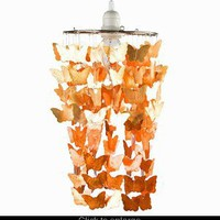 Copper Butterfly Capiz Shell Chandelier