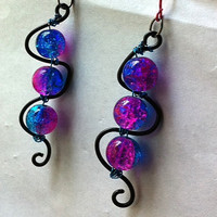 two toned pink and blue crackle glass wire earrings