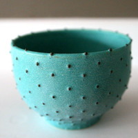 Stoneware Bowl with Dots / WheelThrown Ceramic / by LeiliDesign