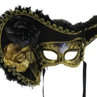 RedSkyTrader - Colorful Masquerade Venetian Pirate Mask with Hat and Flowers