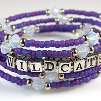 K-State Multi Strand Bracelet - Wildcats Purple and White - Kansas State University - KSU - Swarovski Crystals
