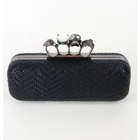 Woven Skull Knuckle Clutch Handbag | Sugar and Sequins