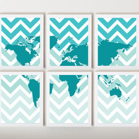 World Map on Ombre Chevron in Teal in 6 Pieces