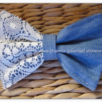 Blue Jeans & Lace Bow by Charming Damsel
