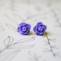 Purple Lavender Rose Cabochon Floral Earrings