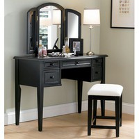 "Powell Furniture 43"" Antique Black Vanity Set"