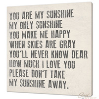 You Are My Sunshine Canvas Wall Art, 20&quot; x 20&quot;, Your Choice Of Colors