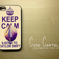 Apple iPhone 4 4G 4S Case Skin Cover Keep Calm and Listen to Taylor Swift Retro Vintage  Available in Black, Clear or White Hard Case.