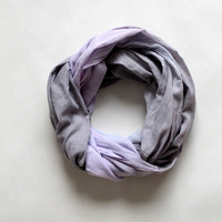 Hand dyed cotton scarf, gray and pink/mauve ombre, wrap,