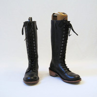 Dr Martens Knee High Laceup Boots w/ Stacked wood by voguevintage