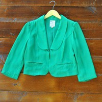 Late Night Out Jacket - $64: From ourchoix.com, this cropped bold green jacket makes for a great holiday accessory!