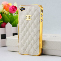 Swarovski CC , Leather, Case White Cover with Crystal - Case for iPhone4 /4s , iPhone Hard Case, Rhinestone