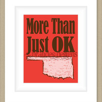 8x10 Oklahoma Print, More Than Just OK Map Art