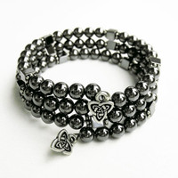 Celtic Hematite Bracelet - Hematite Memory Wire Bracelet with Celtic Triad Charm on Each End - for Men or Women