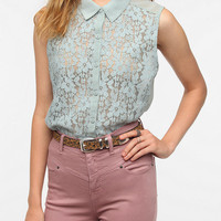 Kimchi Blue Lace Button-Down Tank Top