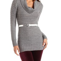 Belted Cowl Neck Sparkle Tunic: Charlotte Russe
