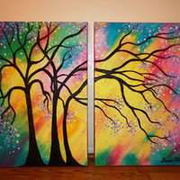 """ Life's Colors"", Modern, Vadal Inspired, Original, 2 canvases, 24"" x 36"" total"