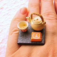 Kawaii Cute Japanese Ring Tea Teapot Cup Food by SouZouCreations