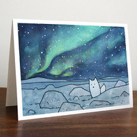 Northern Lights Card Arctic Fox Christmas Holiday