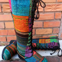 Colorful Hmong Patchwork Boot Lace Up Knee High Wedge Heel, Size 6