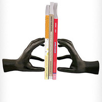 Sculptural Black Hands Bookends