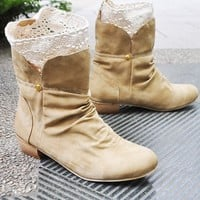 Fashion Women&#x27;s Thick Heel Cute PU Knitting Lace Short Boots /Shoes 4color