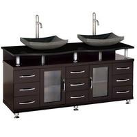 "Accara 72"" Double Bathroom Vanity - Espresso w/ Black Granite Counter 