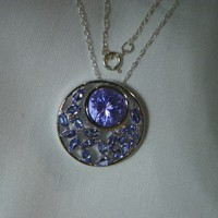 Color Changing Zandrite Purple to Blue Tanzanite Pendant Necklace