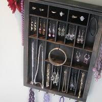 Printers Drawer Jewelry Hanger with ring cubbies